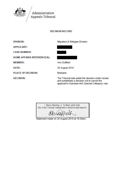 AAT Decision - non-cancellation decision under s 116(1)(e)